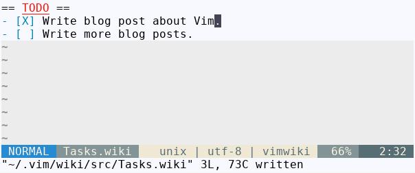 Note editing in Vim